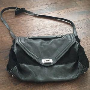 Sandro Paris black leather suede messenger bag